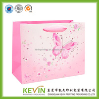 high quality pink butterfly pattern printing gift bag with ribbon handle