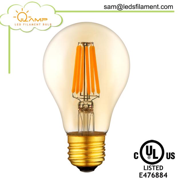 2018 A60 4W/6W/8W led filament bulb lighting, clear bulbs E27/E26/B22,2000-6500K