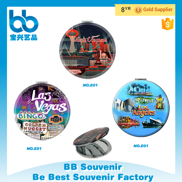 Hot Selling Travel Souvenir Metal Pocket Mirror