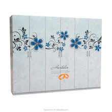 Colorful garderobe bedroom Steel Stamp Painting 6 six Door Combined metal Wardrobe Clothes strong cabinet for bedchamber