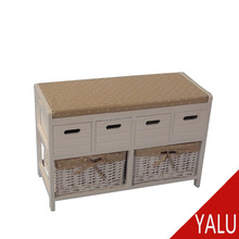wood storage bench with wicker baskets for change shoes H-16047#