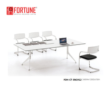 European style white color top grade MFC office metal legs conference table and meeting room chairs (FOH-CT-SM2412)