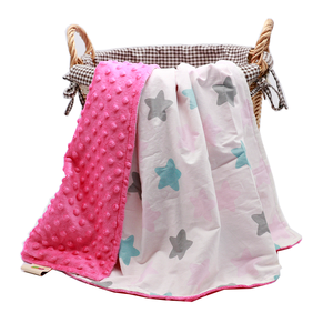 Eco-friendly breathable light weight dot minky star toddler receiving blanket