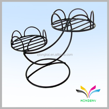 Flower shape black wrought iron decorative garden metal stands for flowers