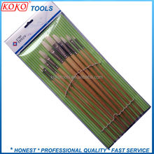 Extra long bristles flat head wooden handle wholesale artist paint brush