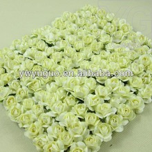 "Cream White Mulberry Paper 1/2"" Rose Flower with Stem"