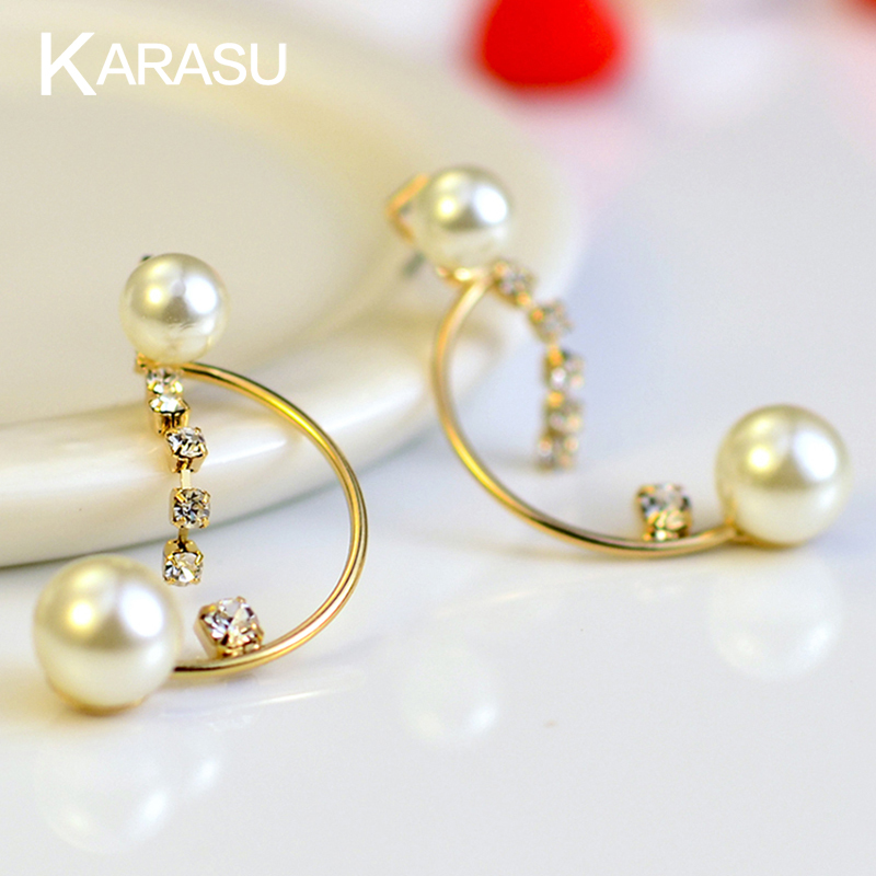 Free Shipping <strong>18</strong> <strong>K</strong> Gold Filled Double Pearl Tiny Crystal Letter D Dangle Drop Earrings for Women Girls Jewelry Gold Plated