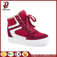Red color lace - up high top women latest design fashion sneakers