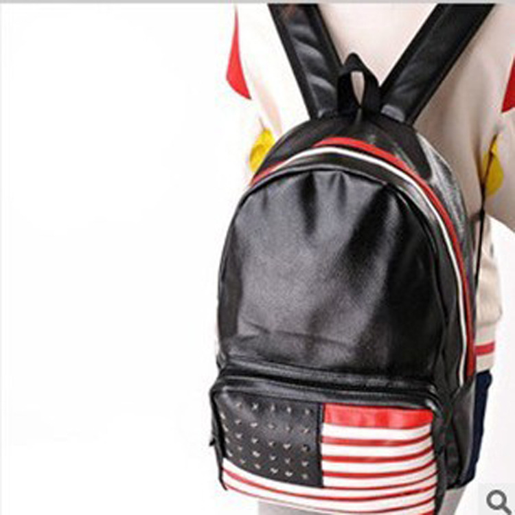New 2015 Fashion European And American Style Rivet Unisex Shoulder Bag Leisure Travel Backpack Wholesale
