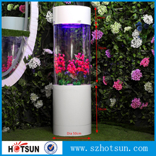 White acrylic fish tank, cylinder aquarium fish wholesale
