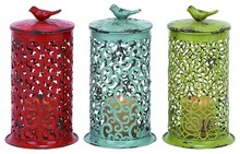 Beautifully Textured Metal Candle Lantern with Lids 3 Piece Set In Assorted Colors Of Red Blue and Yellow Home Decor