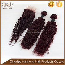 Unprocessed Virgin Hair 99j Kinky Curly Hair Weaving, Brazilian Human Hair Bundles With Lace Closure