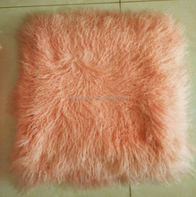 Mongolian curly lamb fur pillow for living room