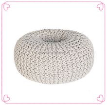 Wholesales Crochet Cotton Round Pouf Ottoman Handmade Knitted Foot Stool Pouf