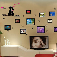 Cat design photo frame home decors wall stickers
