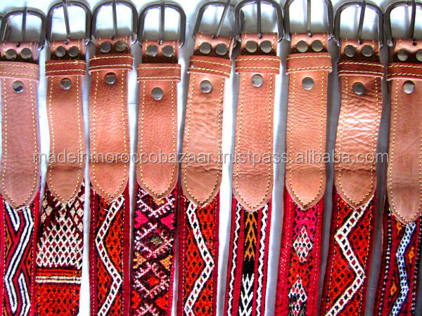 Beautiful Moroccan Handmade Genuine Leather Belts With Kilim Rug