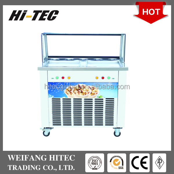 2017 Hot Sale Double Pan Five Holes Fried Ice Cream Roll Machine With Show Case