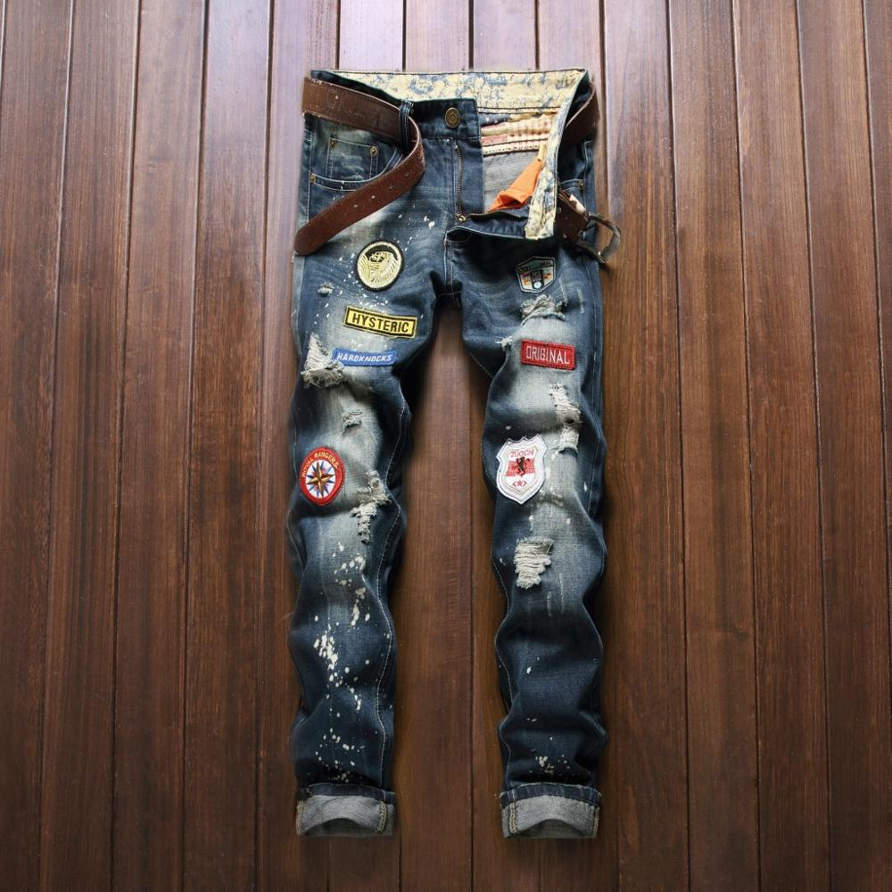 Men Casual Latest Style luxury Denim Trousers Hole Zipper Slim Designer Patches For Jeans
