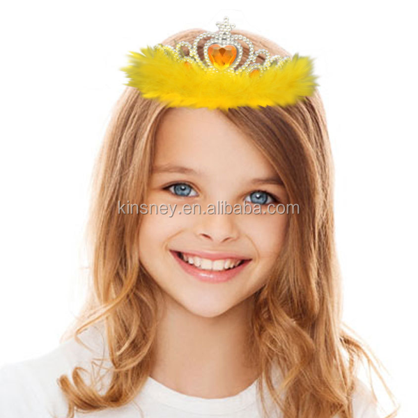 KS40056A New arrival party and boutique kids crown feather hair accessory
