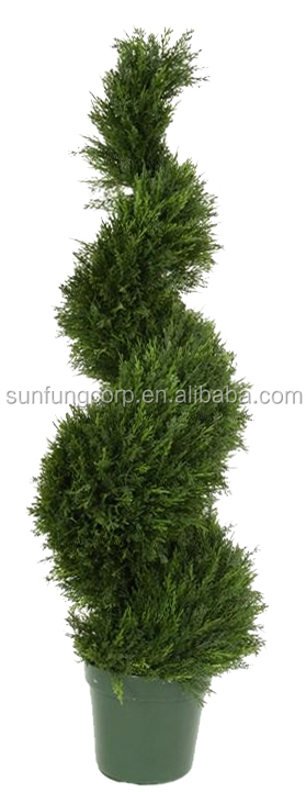 "Sun Fung 48"" UV Resistant Plastic Cypress Spiral Tree"