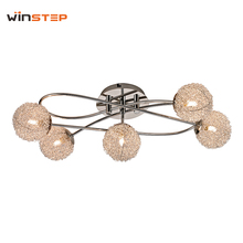 Chrome alu wire-net lamp shade ceiling light for bedroom