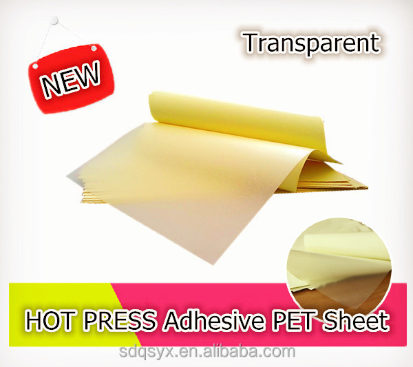 Transparent adhesive PET / PVC sheet with Hot melt glue for photo album