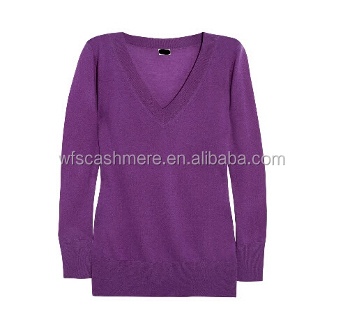 purple cheap v-neck loose design cashmere sweaters for women