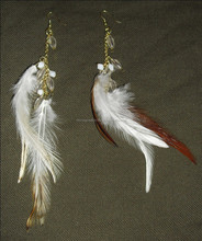 2016 2017 White red feather with golden metal chain clear beaded earrings