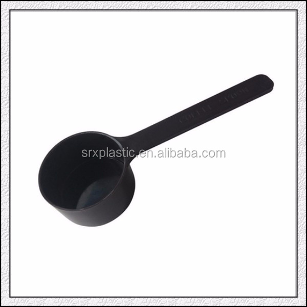 Custom wholesale high quality plastic black measuring spoons for milk coffee/OEM wholesale promotional plastic measuring spoons