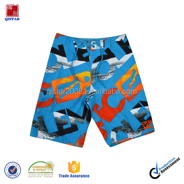 Wholesale Apparel 100% Polyester Microfiber Athletic wear Mens Swim Trunks/Mens Long Board Shorts