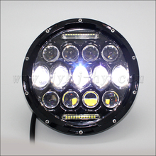 75w jeep wrangler headlight with DRL 7' round front light great white led driving lights