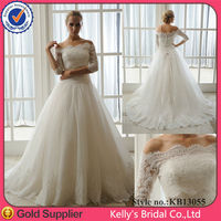 two-piece suit detachable off-shoulder style fancy lace country western wedding dresses
