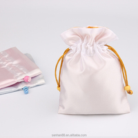 Promotional customize satin Material and Gift Industrial Use custom satin jewelry bag with rope