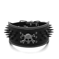 3 Inch Wide Skull Charm Studded Black Spikes Leather Dog Pet Collar Neck For 17-24""