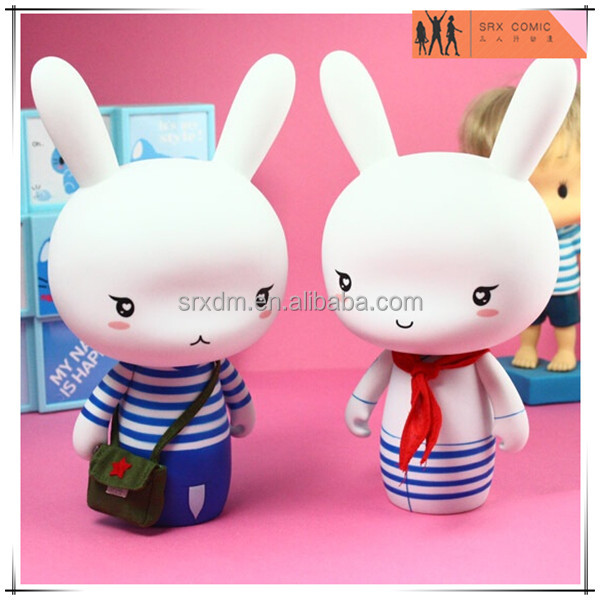 OEM PVC painted dress rabbit shaped saving box bank,custom money penny saving box bank,OEM gift toys money box factory