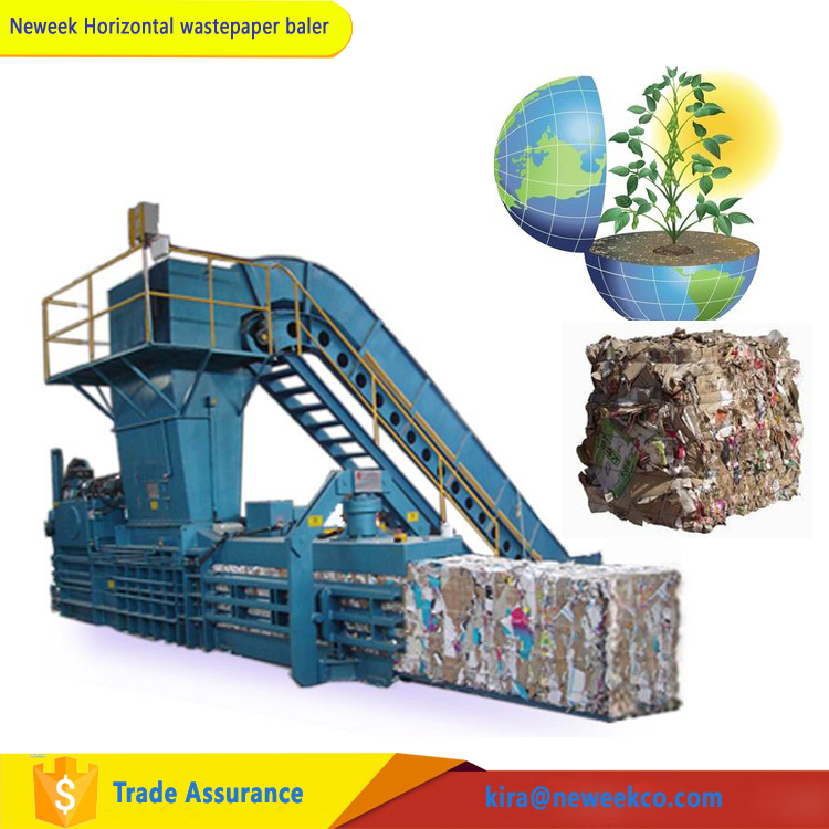 NEWEEK horizontal conveyor cylinder hydraulic baler scrap waste paper baling press