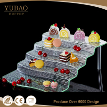 Alibaba cheap wedding buffet food display silver acrylic floor cake stand, acrylic platter for dessert