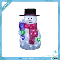 2015 Holiday Christmas decorations LED Light Top hat snowman figurine