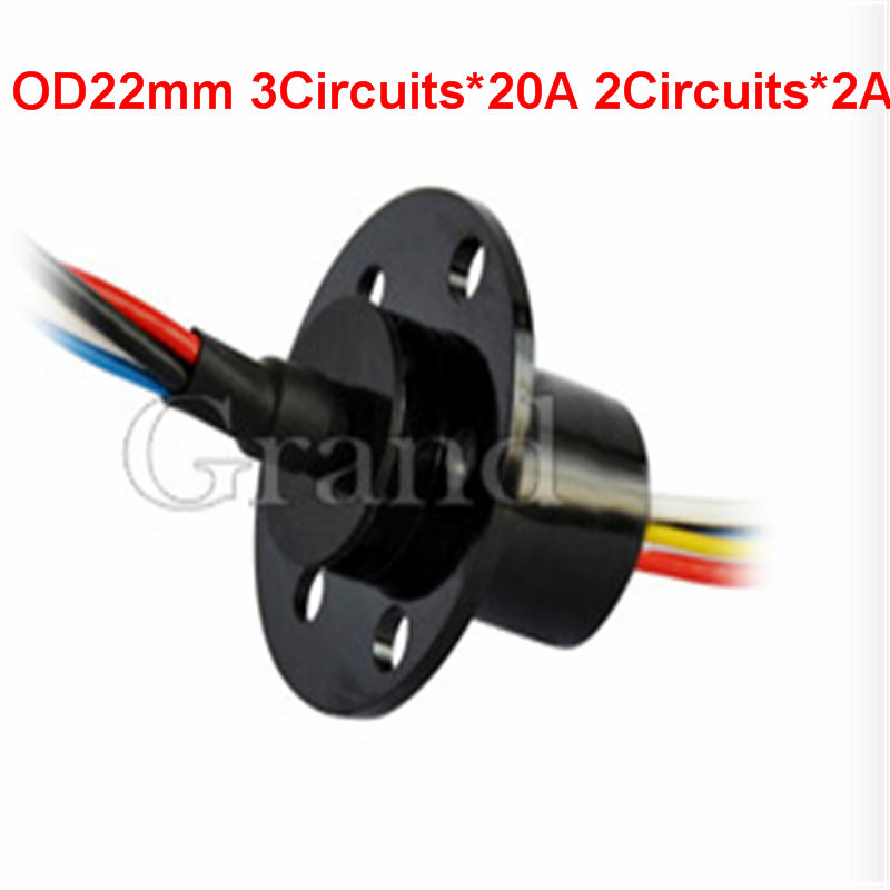 OD 22mm 5 conductors electrical contacts slip ringslip ring rotating connector