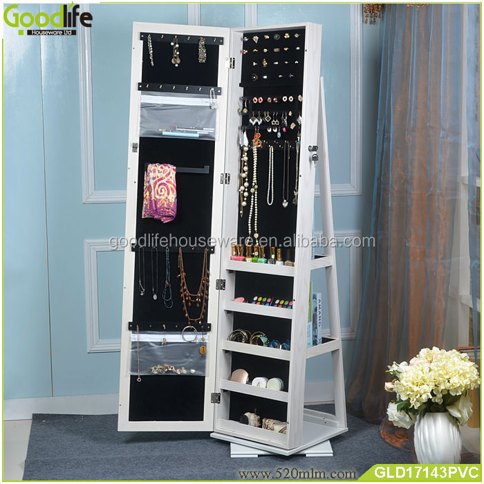 Antique rotating mirror jewelry cabinet with back storage, View ...