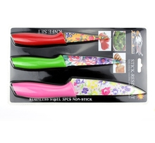 ZJQ-ZE003B Low Price Colorful Printing Plastic Handle 3pcs Kitchen Knives Set