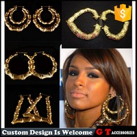 Fashion Exaggerated Big Gold Bamboo Hoop