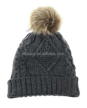 Custom Women's Winter Fleece Lined Cable Knitted Pom Pom Beanie Hat