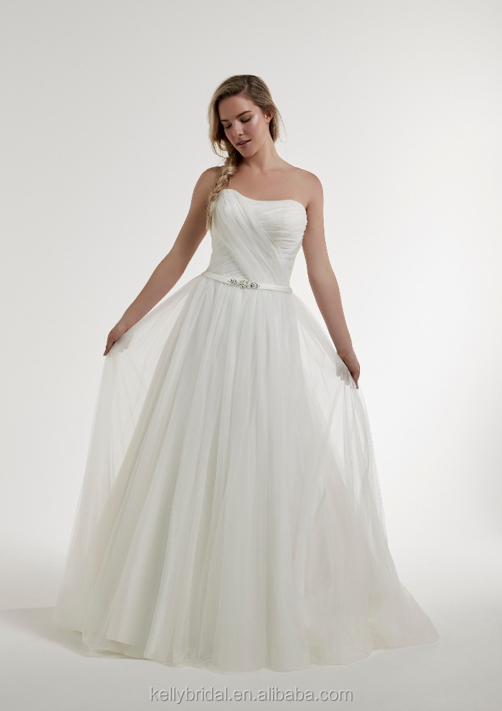ZM16146 Pleated Chiffon A Line Wedding Dresses With Sweetheart Neckline Country Style Wedding Dresses Plus Size