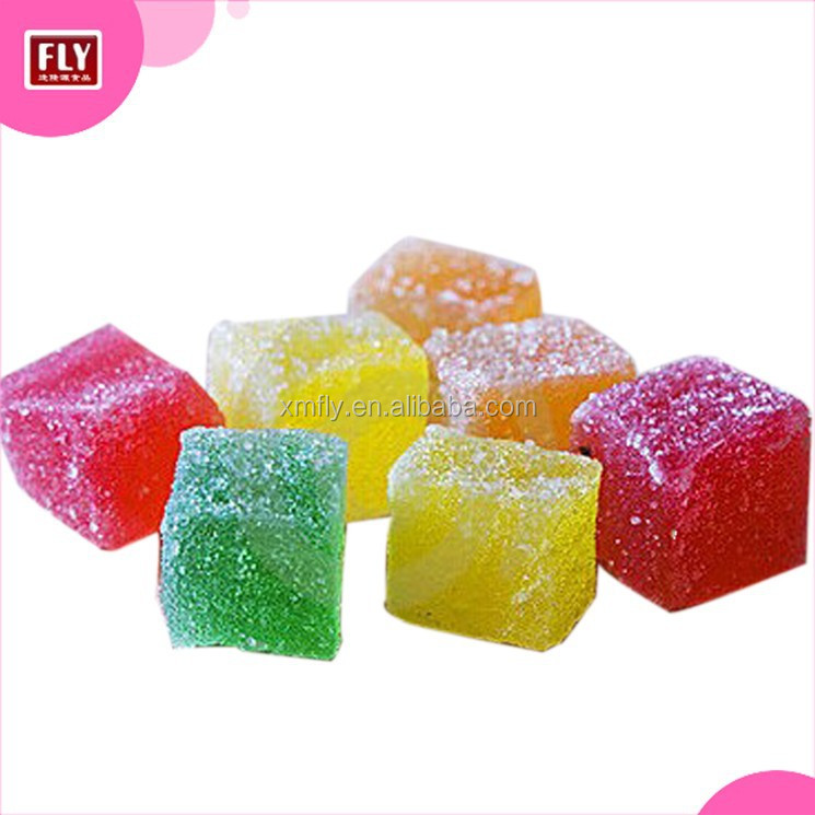 Sugar Coated Colorful Cube Soft Jelly Candy with Fruity Flavour