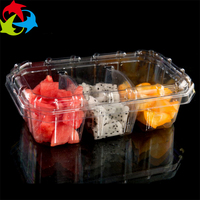 Hot Sale Disposable Clear 3 Compartment Plastic Food / Salad Container