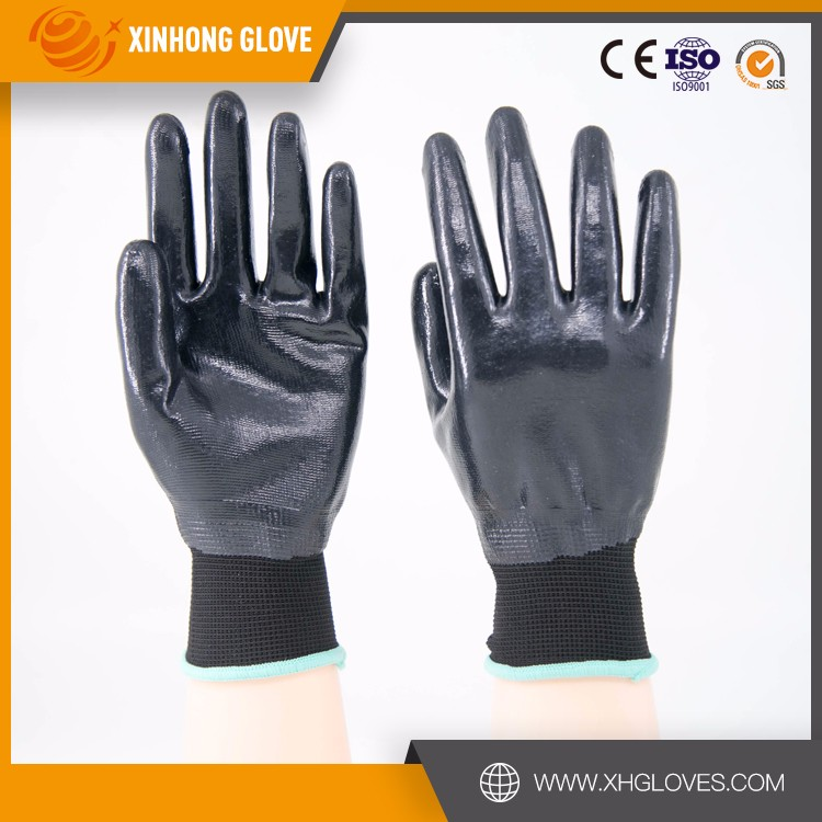 nitrile gloves custom printed palm coating safety XH polyester nitrile coated working gloves made in China