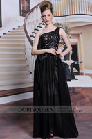 DORISQUEEN MOQ 1pc 31051 wholesale drop ship one shoulder black long dress cheap evening dress 2014