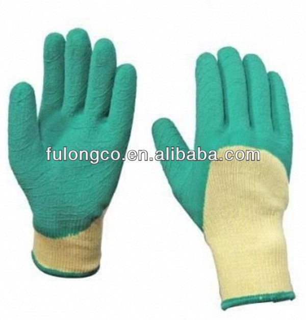 Latex glove coating green ,2 strands yellow liner