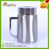 Promotion gift low MOQ double wall stainless steel thermal office coffee mug with handle and lid